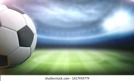 soccer ball rotates against the stadium background in the left side with space for title, logo or score background 4K Ultra HD.