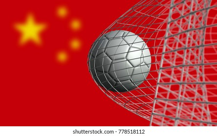 Soccer ball scores a goal in a net against China flag. 3D Rendering