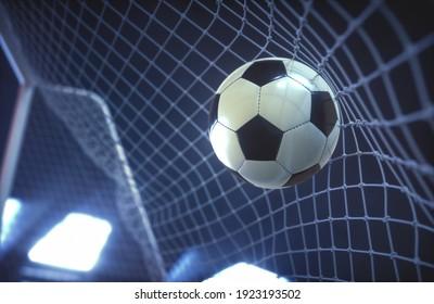 Soccer ball, scoring the goal and moving the net. 3D illustration.