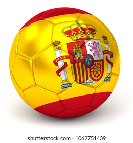 Soccer Ball With Spanish Flag 3D Render