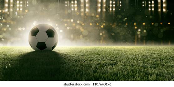 Soccer ball in stadium (3D Rendering)