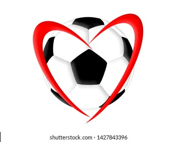 Soccer ball and symbol of the heart on a white background