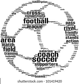 soccer ball tag cloud / word cloud  illustration  for football concept