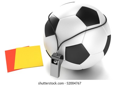 Soccer ball, whistle and cards