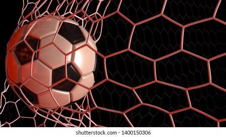 Soccer Ball in the White Goal Net under blue laser lighting. 3D illustration. 3D CG. High resolution.