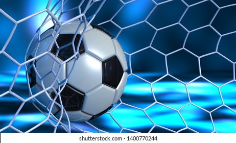Soccer Ball in the White Goal Net under blue laser lighting. Concept subjects such as technology, virtual reality, augmented reality, artificial intelligence. 3D illustration. 3D CG.