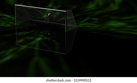 Soccer Ball in the White Goal Net under green laser lighting. Concept subjects such as technology, virtual reality, augmented reality, artificial intelligence. 3D illustration. 3D CG