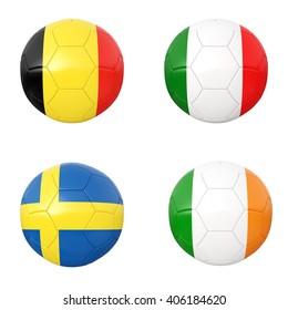 Soccer balls of  Belgium, Italy, Sweden, Eire. 3d illustration
