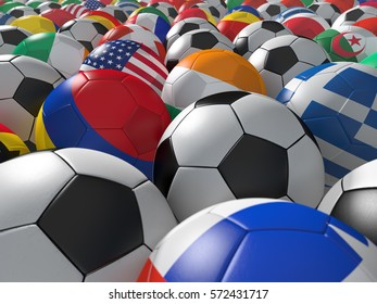 Soccer balls with flags of national teams