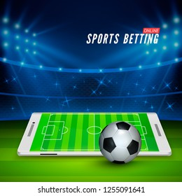 Soccer bet online. Sports betting concept. Soccer stadium and white mobile phone with ball on foreground. illustration
