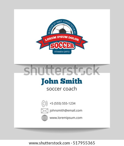 soccer coach business card template logo stock illustration