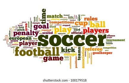 Soccer concept in word tag cloud on white background