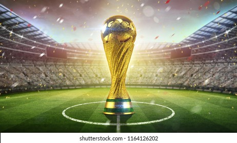 Soccer Cup concept. Golden trophy in the form of the globe. 3d render