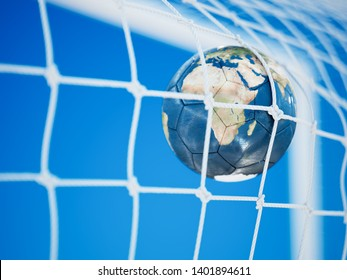 Soccer Earth globe planet football ball flies into goal net with sky background. 3d rendering illustration