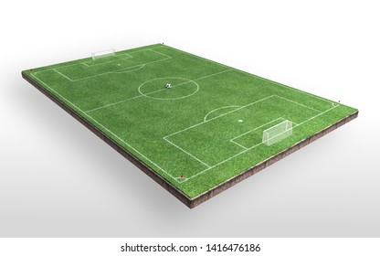 Soccer Field and Soccer Ball, Green Grass, Realistic, White Background, 3D Rendering.
