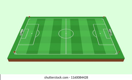 Soccer Field / Football Field / Football Pitch in Horizontal view - 3D Illustration