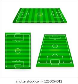 Soccer field set. Green european football field design element. illustration isolated on white background