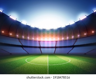 Soccer field in the sports stadium. Lawn illuminated in the center by the surrounding lights. 3D illustration.