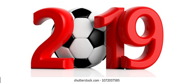 Soccer, football and 2019. Red new year 2019 with soccer ball isolated on white background. 3d illustration