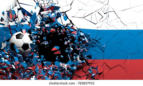 Soccer football ball breaking though wall with Russian flag. 3d illustration