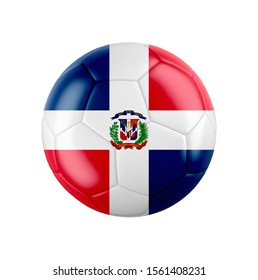 Soccer football ball with flag of Dominican Republic isolated on white. 3d illustration.