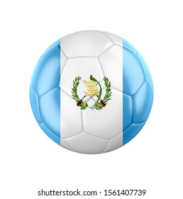 Soccer football ball with flag of Guatemala isolated on white. 3d illustration.
