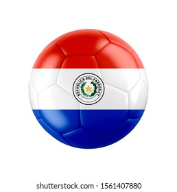 Soccer football ball with flag of Paraguay isolated on white. 3d illustration.