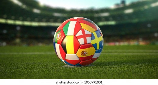 Soccer Football ball with flags of european countries on the grass of football stadium. Championship in Europe 2021. 3d illustration