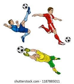 Soccer football players including goalkeeper cartoon character set