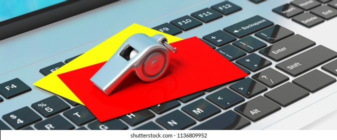 Soccer, football referee. Whistle and red yellow cards on computer keyboard, banner. 3d illustration