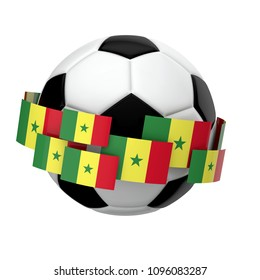 Soccer football with Senegal flag against a plain white background. 3D Rendering