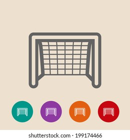 Soccer goal flat icon.  on background