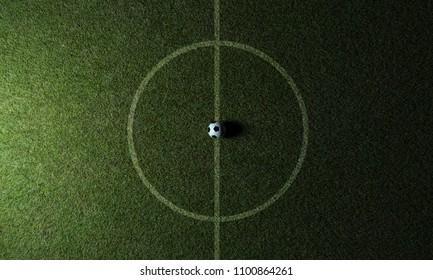 Soccer grass field Top view kick off 3D Rendering