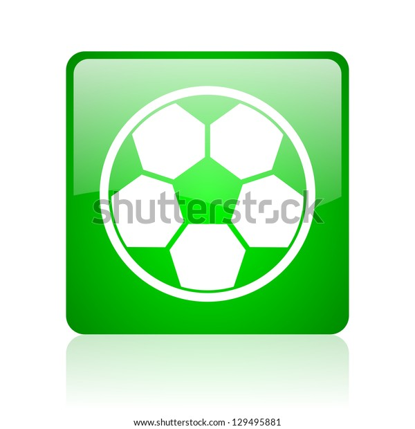 soccer green square web icon on white background