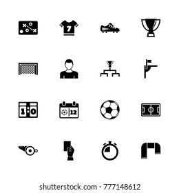 Soccer icons. Flat Simple Icon - Black Illustration on White Background.