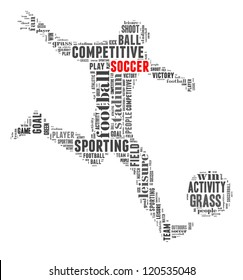 Soccer info-text graphic and arrangement concept on white background (word cloud)