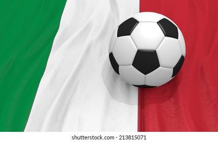 soccer on ball  on the italy flag