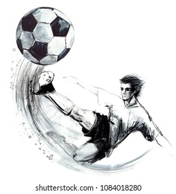 Soccer player. football silhouette hand drawn sketch illustration