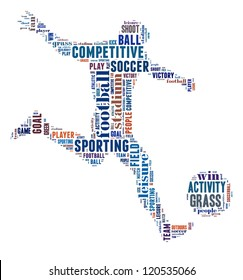 Soccer player info-colorful text graphic and arrangement concept on white background (word cloud)