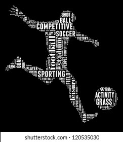 Soccer player info-text graphic and arrangement concept on black background (word cloud)