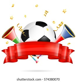 Soccer Poster with Soccer Ball, vuvuzela, ribbon and golden streamer, isolated on white background