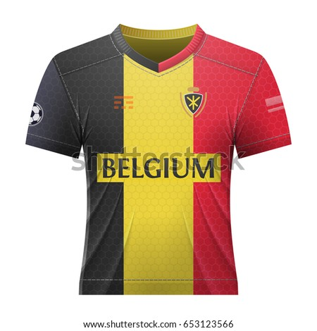 Soccer shirt in colors of belgian flag. National jersey for football team  of Belgium. b52cba5a8