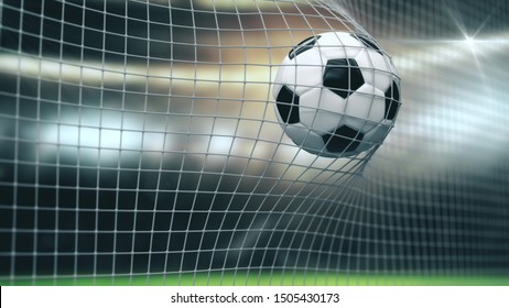 Soccer Slow Motion Ball flight into Goal Net. 3d rendering Close up success Sport Concept. Fans on Stadium taking pictures with flashes strobe lights.