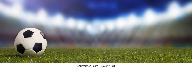 Soccer stadium with football on lawn as panorama background (3D Rendering)