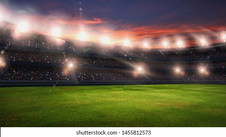 Soccer stadium, green grass and night sky. 3d renering
