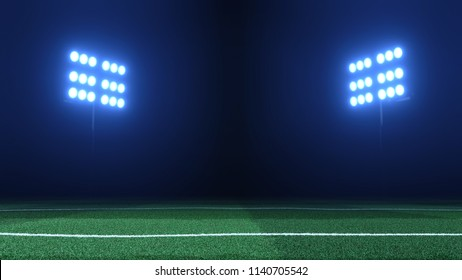Soccer stadium lights reflectors against black background and soccer grass field in the foreground. Floodlights and soccer field 3D render in volumetric fog