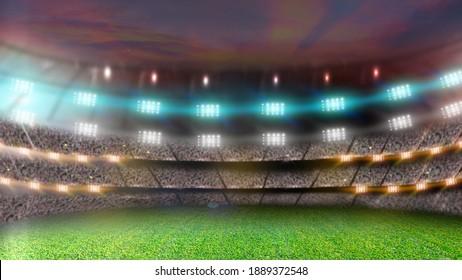 Soccer stadium at night. Empty green grass field and bright spotlights. 3d rendering