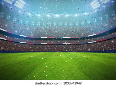 Soccer stadium in the night3d rendering. All graphics are made up