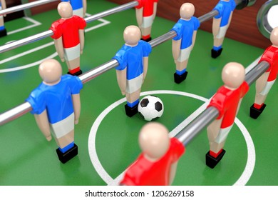 Soccer Table Football Game extreme closeup. 3d Rendering