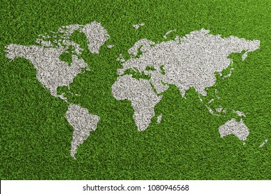 Soccer turf from above with world map as turf marker (3D Rendering)